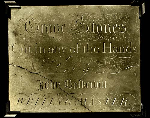 Slate tablet advertising Baskerville's works showing his skill as a designer of letters: